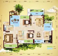 中房新天地5#-A户型4室2厅2卫122.14�O