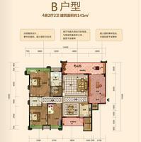 皇庭天麓湖高层B户型4室2厅2卫141.00�O