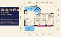 公园天下5#1单元03号房3室2厅2卫134.79�O