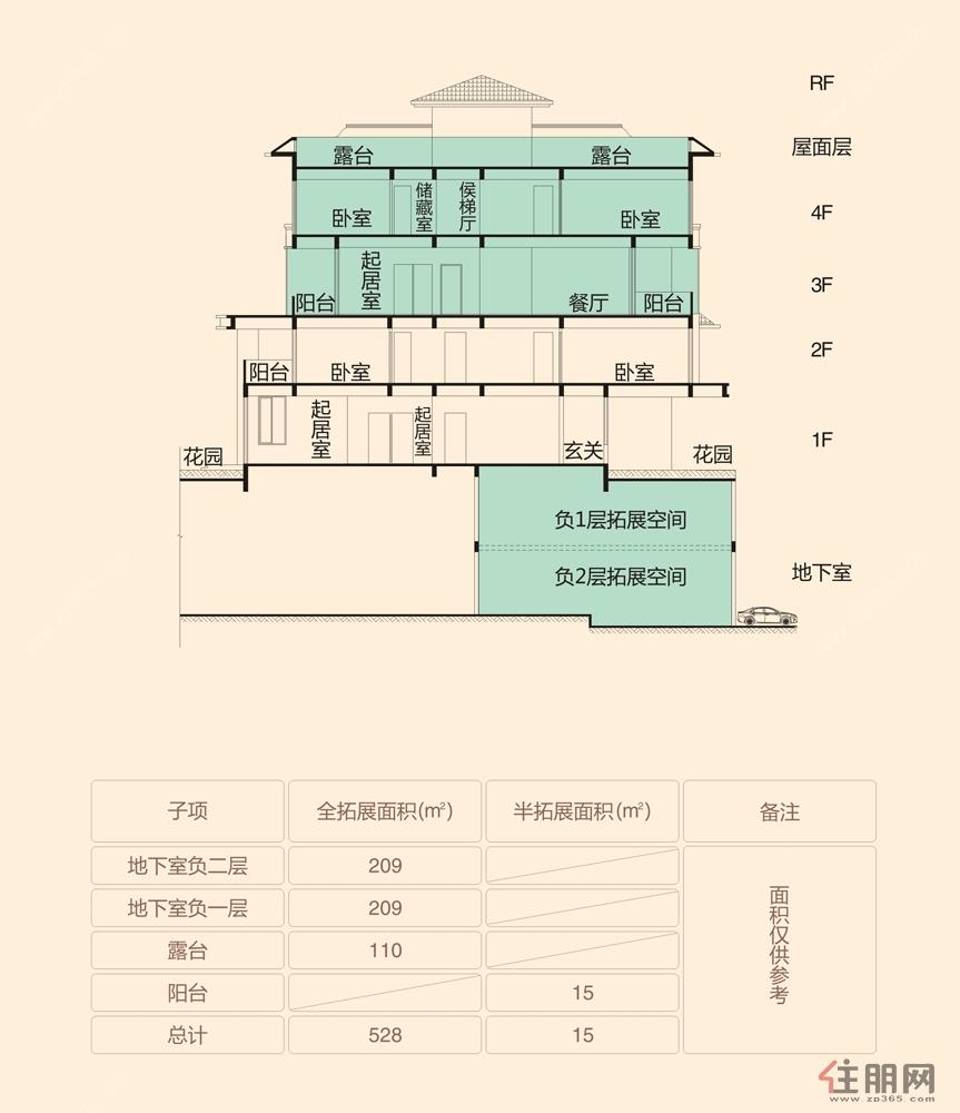 江山御景a16#楼304户型叠墅平面图0室0厅0卫295.00㎡