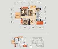 柳州荣和千千树B二期户型2室2厅1卫73.00�O