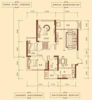 1#D户型88.56㎡3房2厅1卫