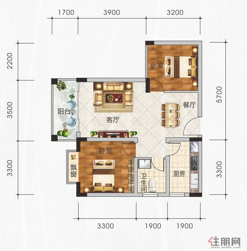 春江花月3-B户型2室2厅1卫75.89�O