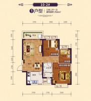 恒大御府10-2#1户型3室2厅1卫89.00�O