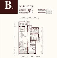 华商国际・美国城109�O2+2房的B户型2室2厅2卫109.00�O
