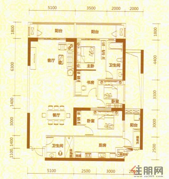 地王公馆2座04户型4室2厅2卫188.00�O