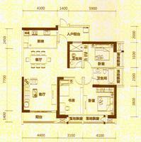 地王公馆2座01、07户型3室2厅2卫148.00�O