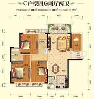 领东国际C户型4房2厅2卫 116�O4室2厅2卫116.00�O