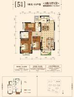 江宇都会明珠5号楼1单元03户型3室2厅2卫115.92�O