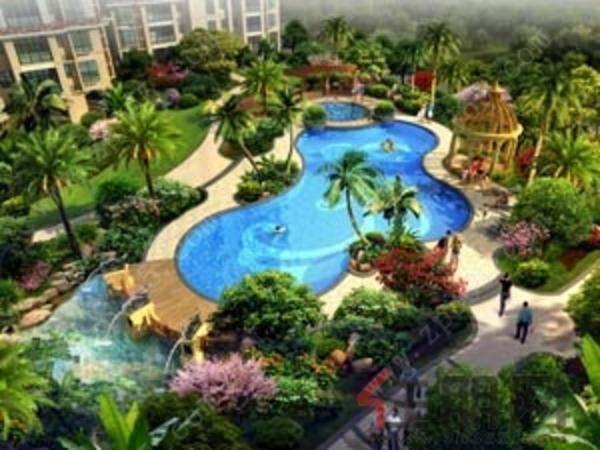 碧水逸湾景观区-泳池鸟瞰效果图