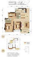 奥园名门4栋02户型3室2厅2卫94.31�O