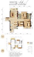 奥园名门4栋04户型3室2厅2卫92.96�O