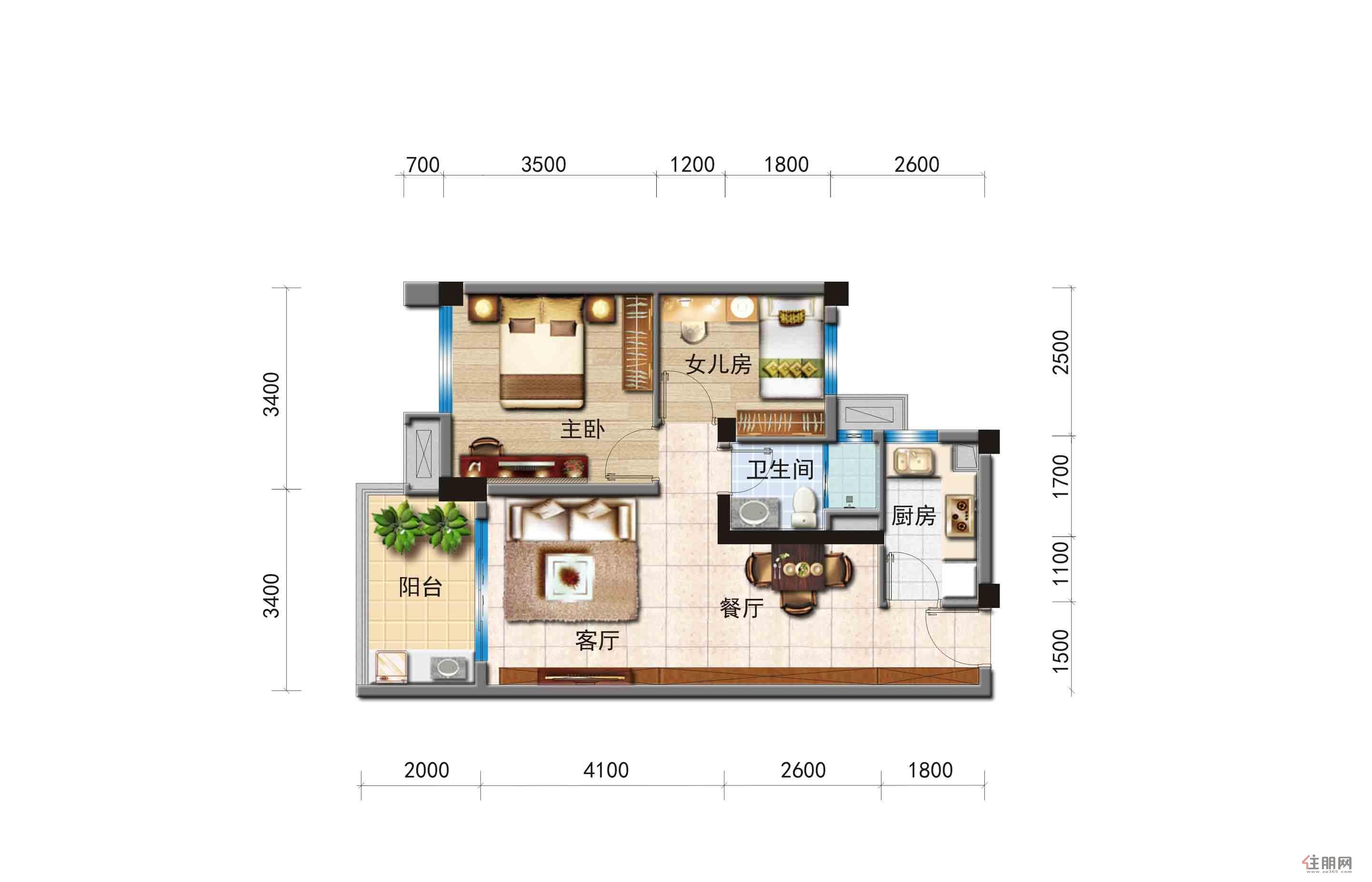 碧桂园・北纬21°Y228 两室两厅一卫2室2厅1卫74.00�O