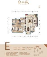 南宁绿地城E户型(144�O)4室2厅2卫144.00�O