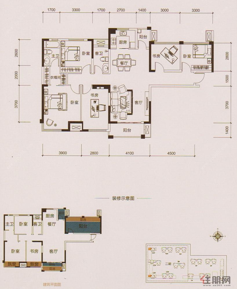 中海御湖熙岸13#楼L户型5室2厅2卫135.00�O