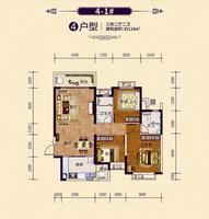 恒大御府4-1#户型3室2厅2卫114.00�O