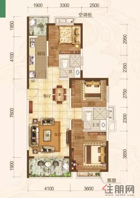 南宁恒大城123�O(建面)户型3室2厅2卫123.00�O