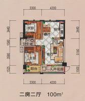 高铁1号生活广场B1、B2户型2室2厅1卫100.00�O