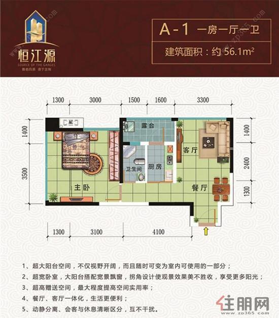 恒江源A-1户型1室1厅1卫56.10―56.1�O