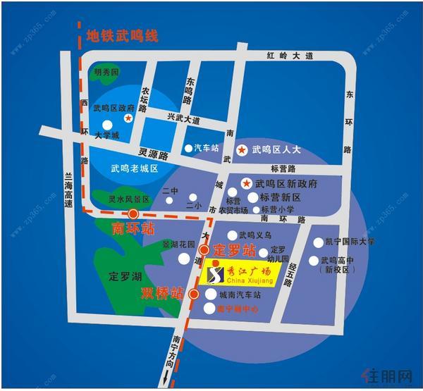 秀江广场交通区位图