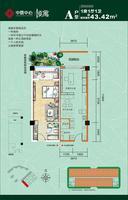 中心公寓A户型图43.42㎡