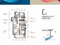 万科悦湾C户型4室2厅2卫124.00�O