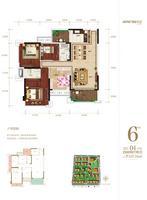 凯旋国际6#楼04户型4室2厅2卫127.34�O