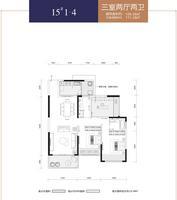 华泰官邸15#1-43室2厅2卫106.58�O