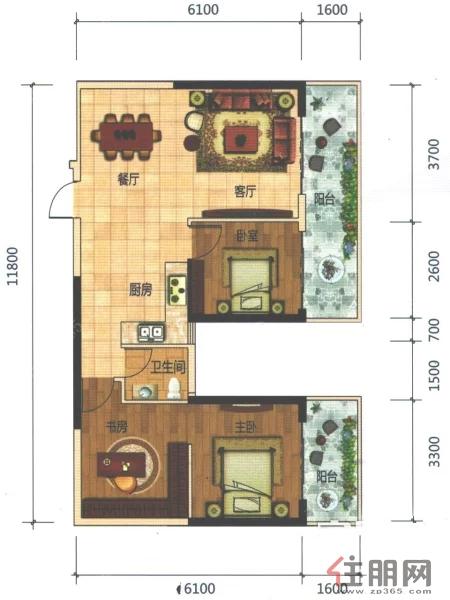 科瑞・江韵E5户型95�O(建面)3室2厅1卫95.00�O