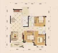 金茂新城D1户型3室2厅2卫111.95�O