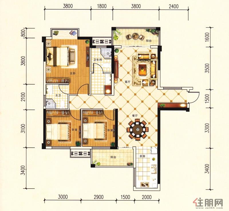 金茂新城D3户型3室2厅2卫115.64�O