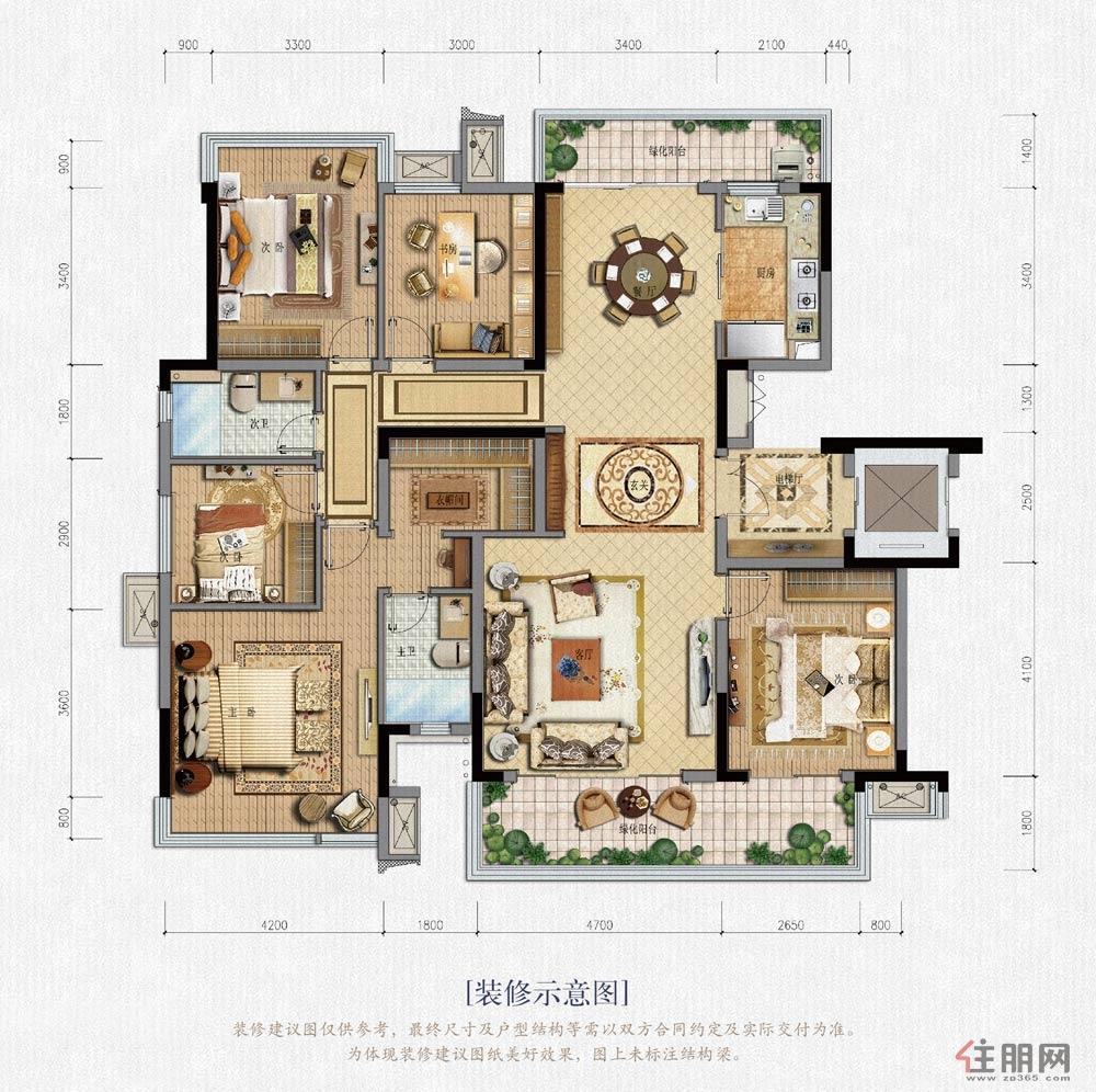 青溪府Y12号楼C3户型5室2厅2卫164.45�O