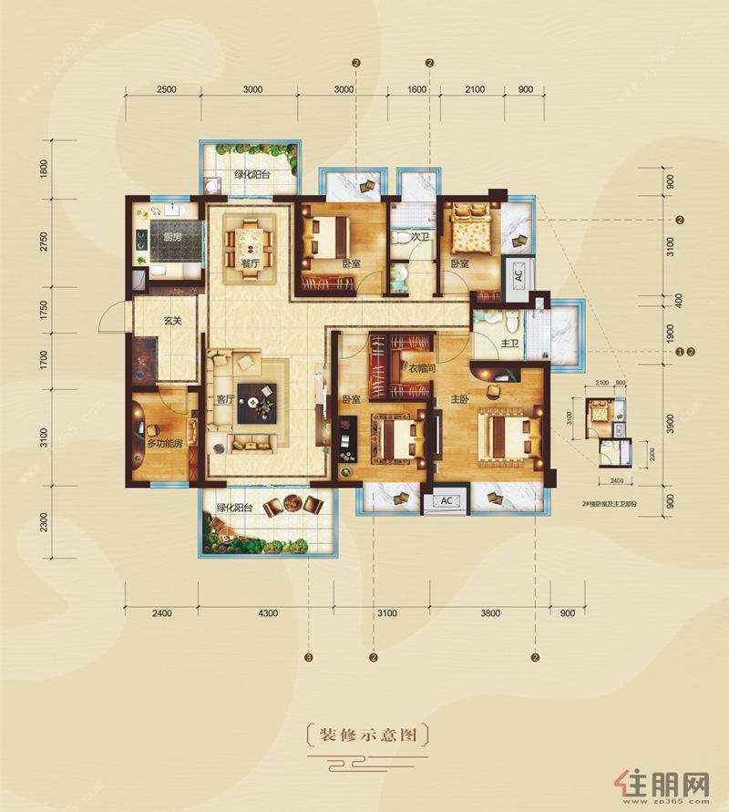 中国铁建・云景山语城B户型5室2厅2卫143.00�O