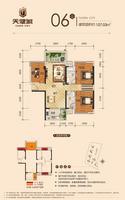 天健城107.03�O(建面)户型3室2厅2卫107.03�O