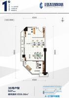 荟金亚太经贸中心36号户型1室2厅0卫59.08�O