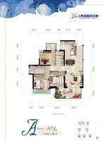 绿地西城国际花都A户型3室2厅2卫89.00�O