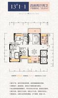 华泰官邸13#1-1户型4室2厅2卫125.81�O