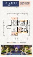 华泰官邸13#1-2、2-1、2-2户型3室2厅2卫103.30�O