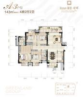 绿地中央广场15#楼143�O户型4室2厅2卫143.00�O