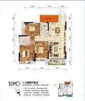 天悦华府10#C户型3室2厅2卫118.90�O