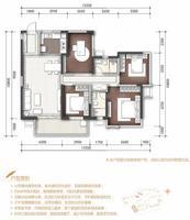 万科城北区17#18#楼H户型4室2厅2卫126.00�O