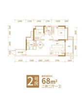 铁投玫瑰园二期6#楼2号房2室2厅1卫68.00�O