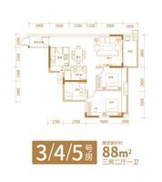 铁投玫瑰园二期6#楼2号房3室2厅1卫88.00�O