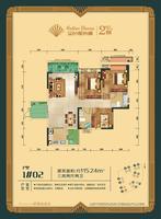 金色维也纳1#楼115.24�O的02户型3室2厅2卫115.24�O
