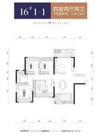 华泰官邸16#1-14室2厅2卫126.25�O