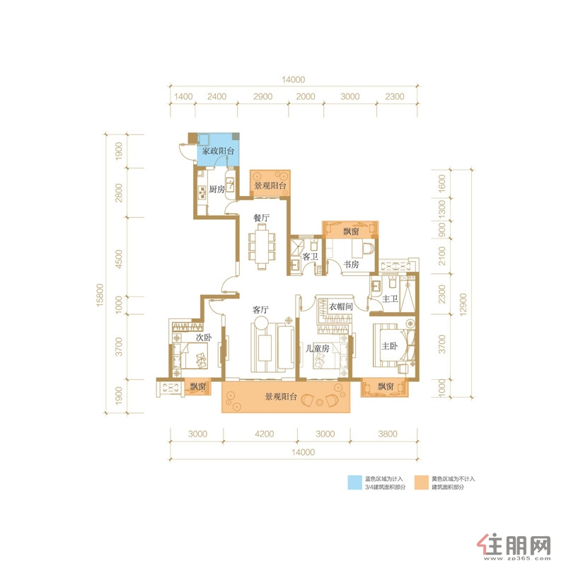 光明城市140�O(建面)户型4室2厅2卫140.00�O
