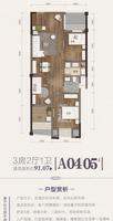 骋望麓涛未来城市A04/05户型3室2厅1卫91.07�O