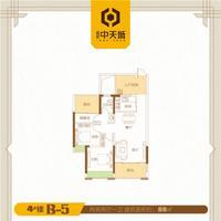 通建中天城中天城2期户型图4#B-62室2厅2卫88.00�O