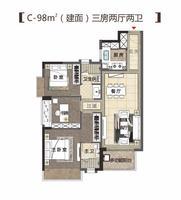 C-98㎡户型(建面)三房两厅两卫