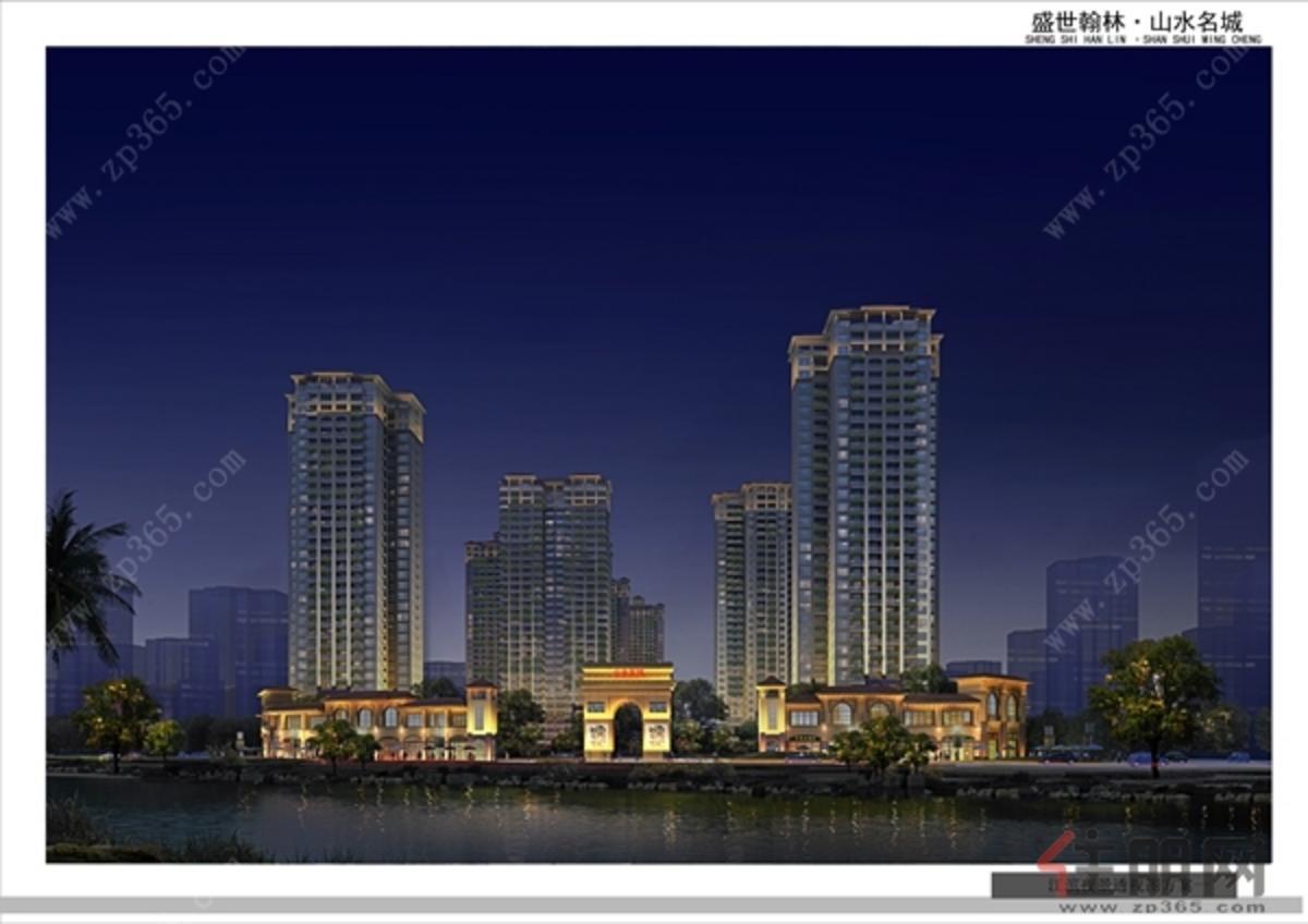 江滨夜景透视图